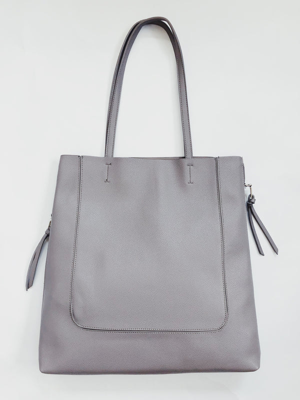 Olympia Vegan Leather Oversized Tote Bag - Gray - amannequin - amannequin