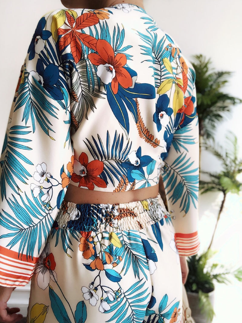 Marta Palm Leaf Print Two Piece Short Set - amannequin - amannequin