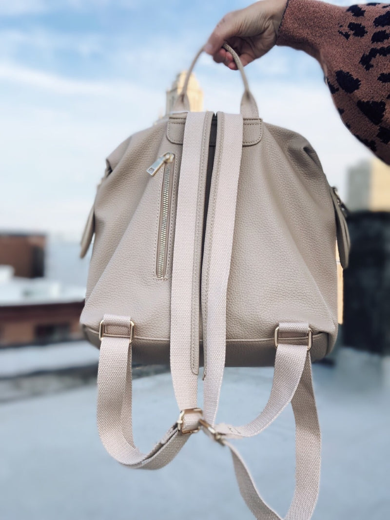Kenzie Nude Vegan Leather Backpack - Urban Expressions - amannequin - amannequin