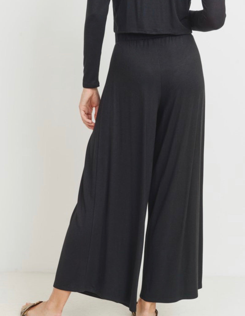 Mary Basic Long Sleeve Top & Wide Leg Pant Set