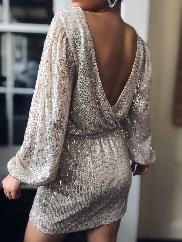 Spotlight Silver Sequin Puff Sleeve Dress-dress-on twelfth-AMQN Boutique