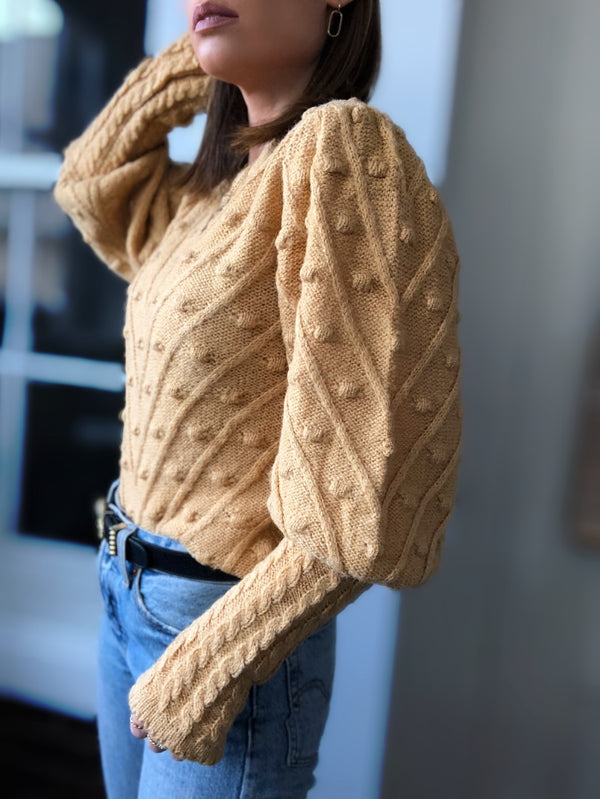 Billie Pom Pom Puff Sleeve Sweater - Mustard Yellow - amannequin - amannequin