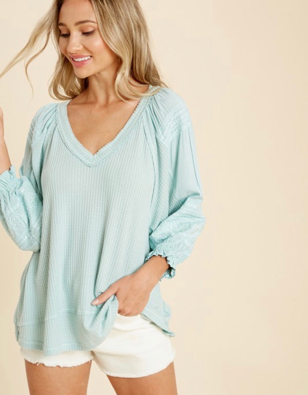 Kimberly Embroidered Waffle Knit Puff Sleeve Top