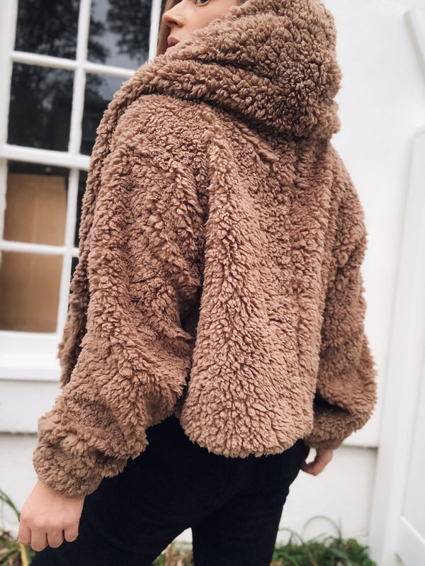 Augie Teddy Faux Fur Plush Hoodie - Taupe-Sweater-favlux-AMQN Boutique
