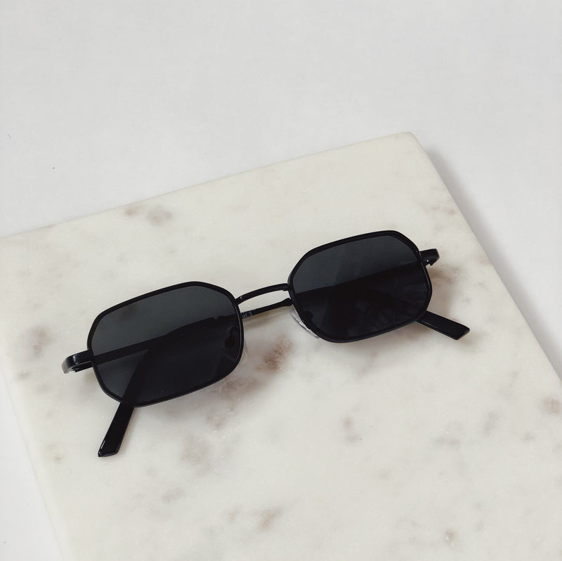 Piper Matte Black Slim Square Sunglasses by AJ Morgan - amannequin - amannequin