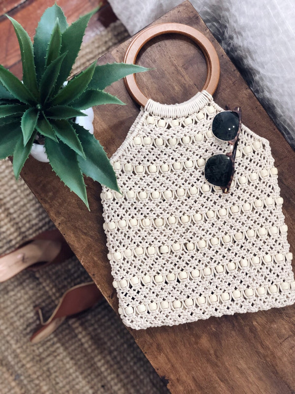 Positano Crochet Beaded Wooden Top Handle Bag by Street Level - amannequin - amannequin