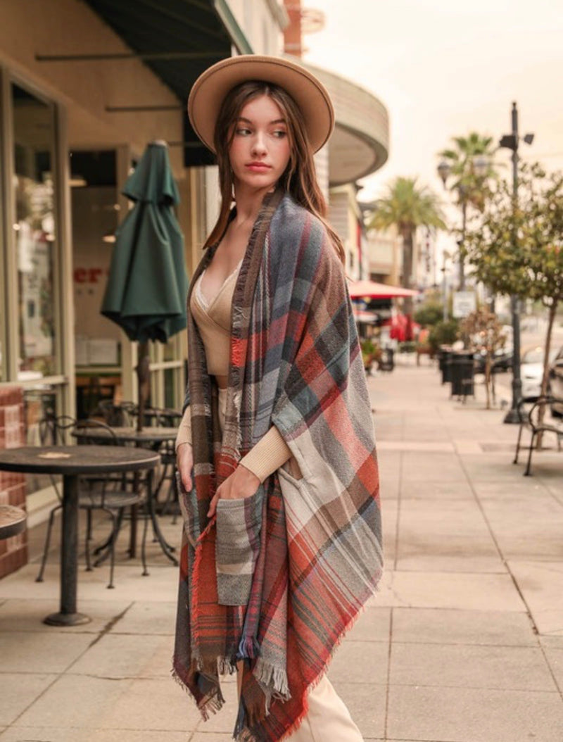 Angela Plaid Pocket Poncho Shawl