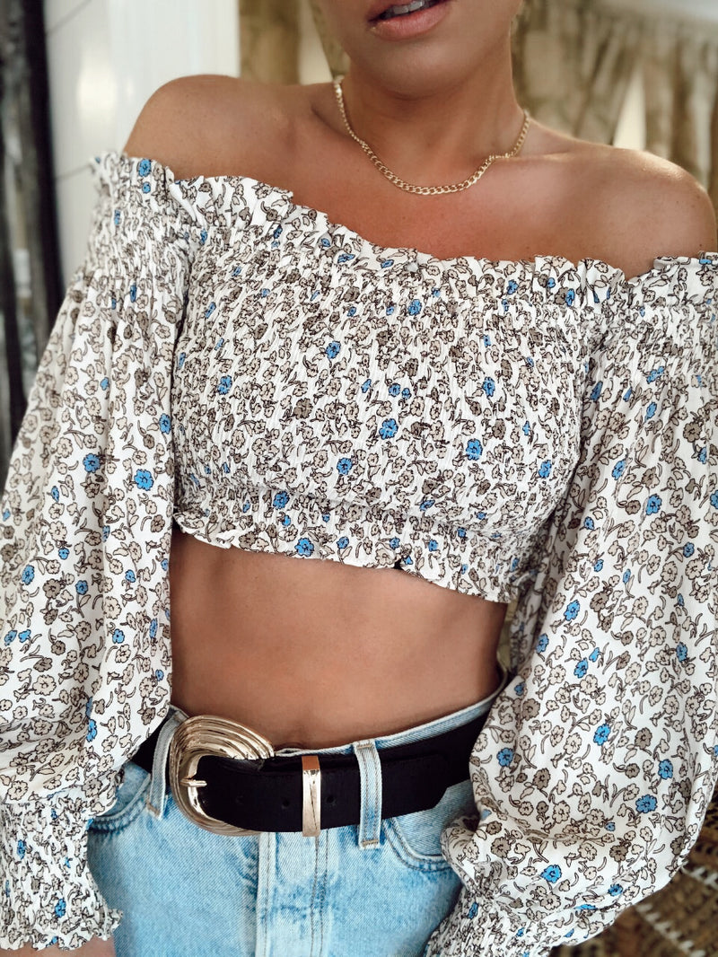 AUDREY FLORAL SMOCKED OFF THE SHOULDER TOP