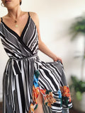 Beau Striped Floral Maxi Wrap Dress - amannequin - amannequin