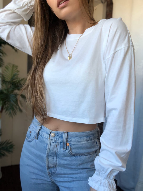 Ana Maria Puff Sleeve Cropped Tee - White - amannequin - amannequin