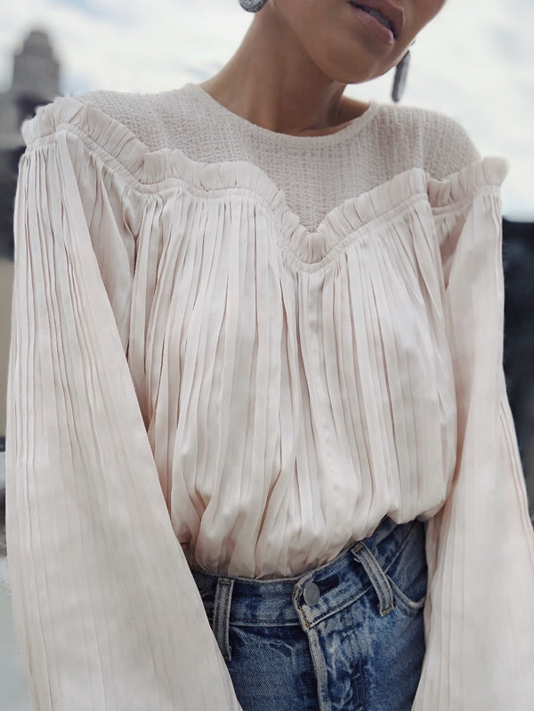 Crystal Pleated Puff Sleeve Blouse - Ecru-top-Current Air-AMQN Boutique