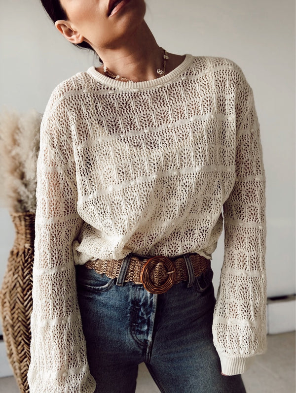 Louise Crochet Sweater Set | Cream