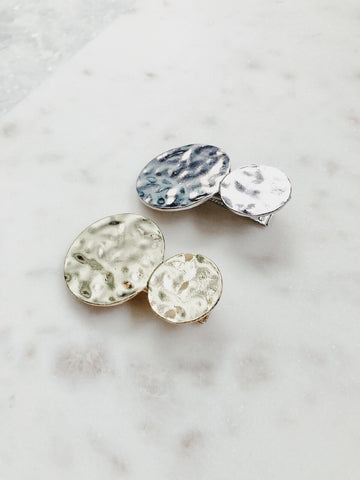 Wave Silver + Gold Hammered Hair Pin Set - amannequin - amannequin