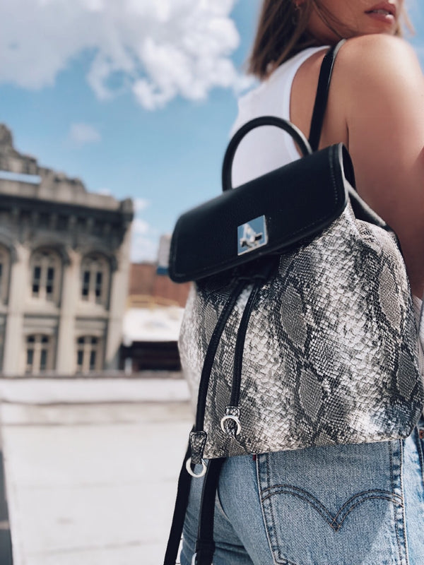 Tegan Black Snakeskin Vegan Leather Mini Backpack - Urban Expressions-Handbag-urban expressions-AMQN Boutique