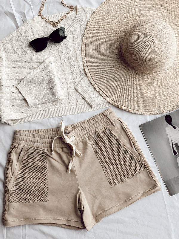 Leonie Pocketed French Terry Shorts | Beige