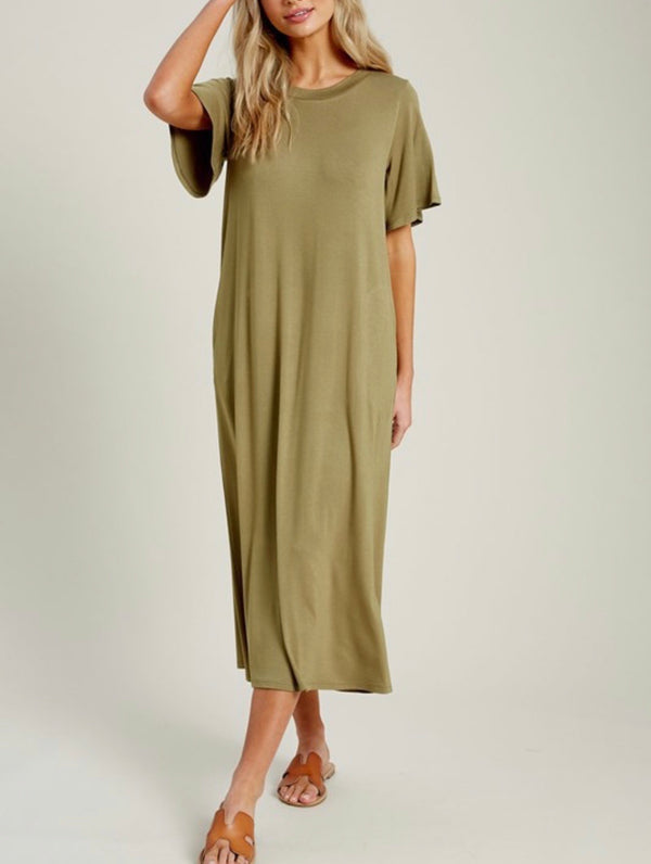 Jena T-Shirt Maxi Dress - Olive Green