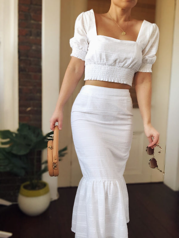 Seaside White Midi Skirt - amannequin - amannequin