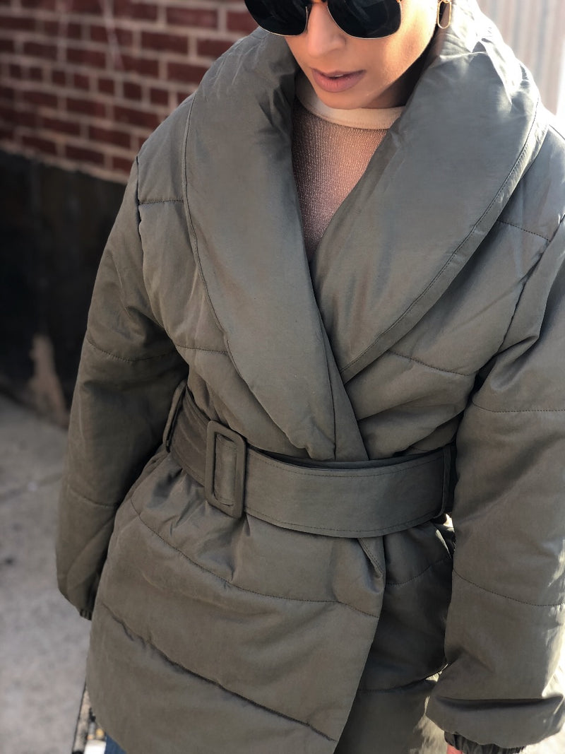 Karma Belted Puffer Coat - Olive Green - amannequin - amannequin