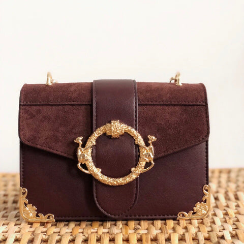 Ellie Brown & Gold Mini Crossbody Handbag - amannequin - amannequin