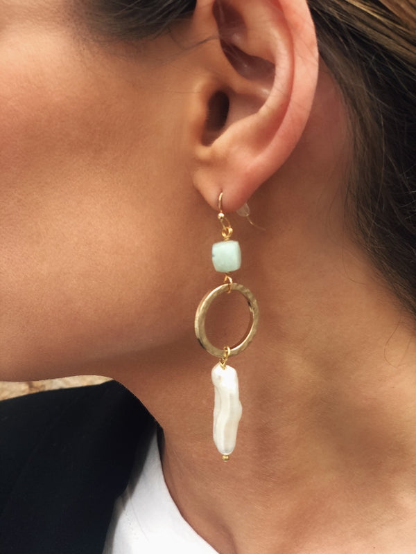 Adria Mother of Pearl & Turquoise Stone Earrings - Gold | amannequin | amqn bouitique