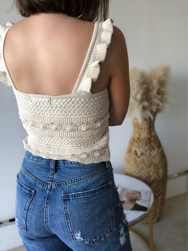 Justine Knit Sweater Tank Top | Oatmeal