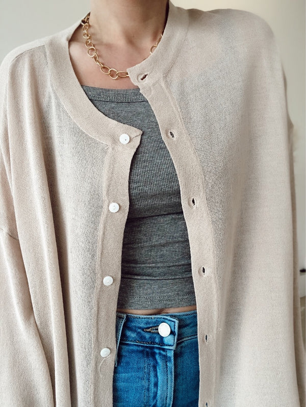 Valentine Oversized Lightweight Knit Cardigan | Taupe