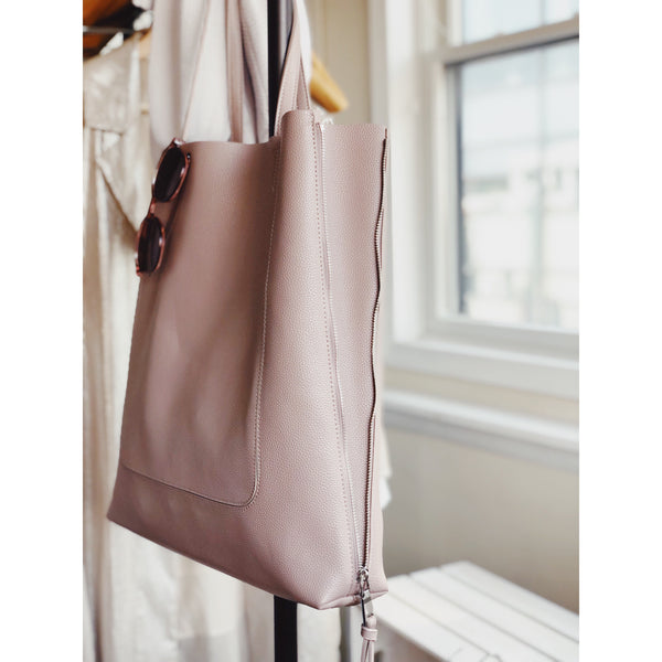 Olympia Mauve Vegan Leather Oversized Tote Bag - amannequin - amannequin
