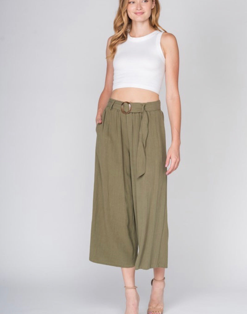Romy Linen High Waisted Cropped Wide Leg Pants