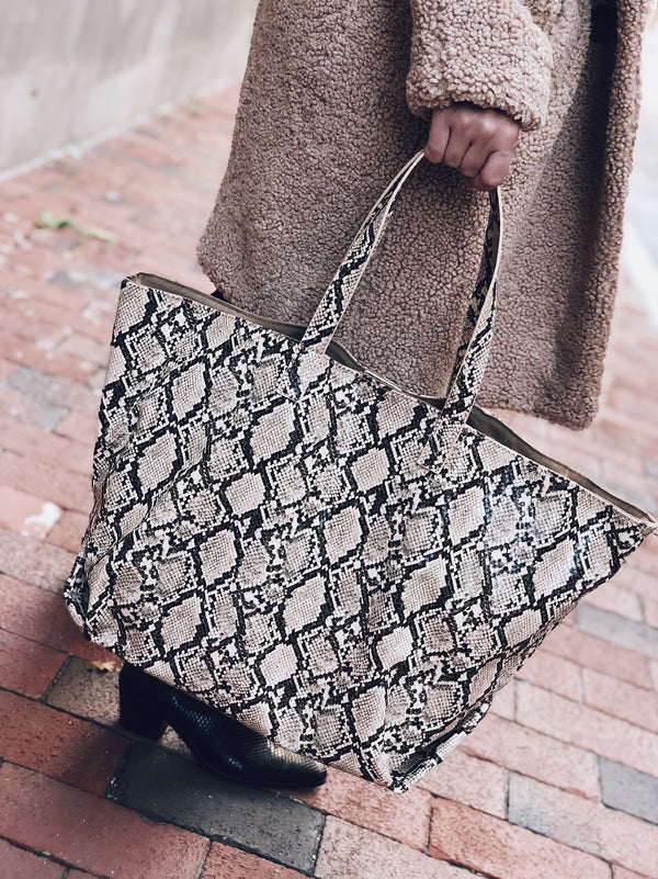 Mylah Snakeskin Oversized Tote Bag - amannequin - amannequin