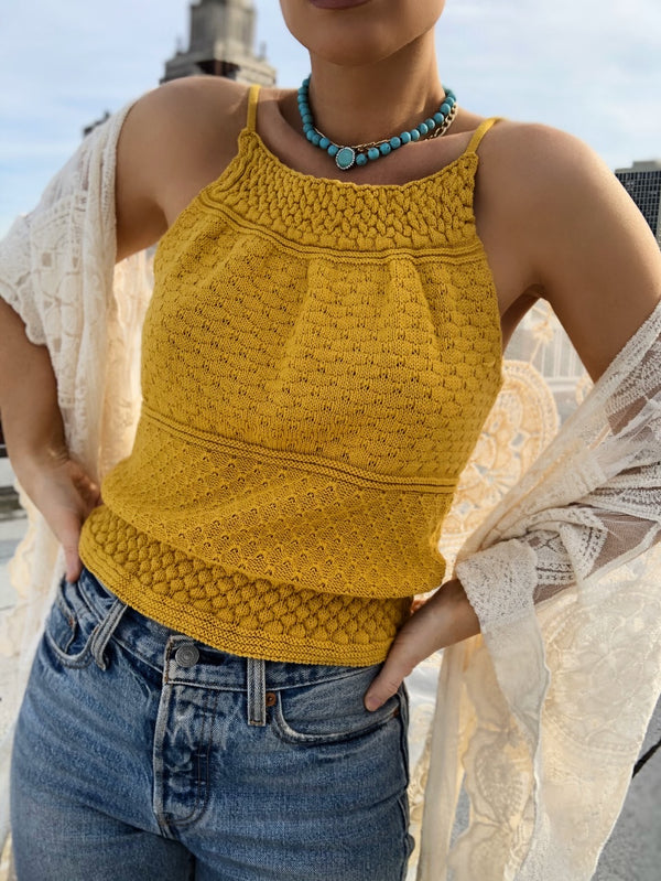 Bella Crochet Knit Halter Top - Mustard Yellow | amannequin | amqn boutique