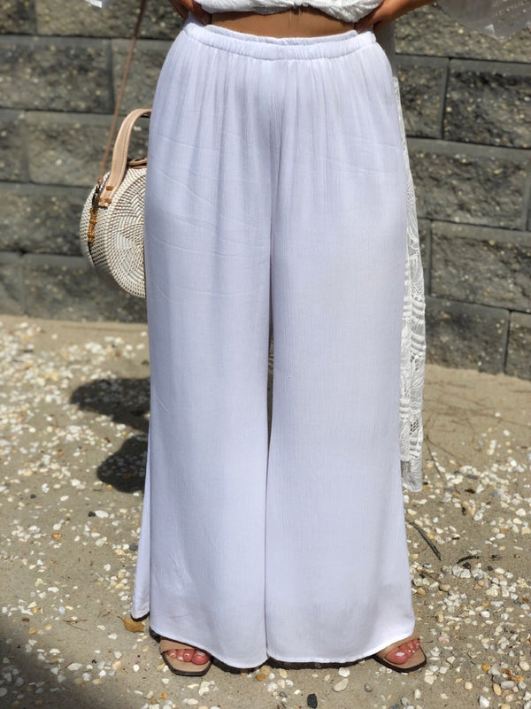 "The ""Beach Please"" White Wide Leg Rayon Cropped Pant - amannequin - amannequin"