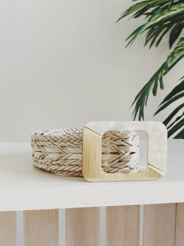 Shelly Braided Vegan Leather Belt - Cream & Gold