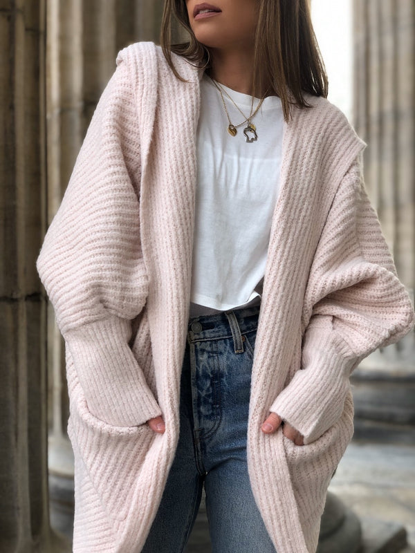 Willow Hoodie Cardigan Sweater - Blush Pink-Sweater-listicle-AMQN Boutique