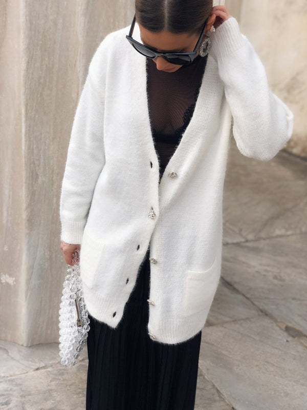 Arena Fuzzy Knit Jeweled Button Cardigan - White - amannequin - amannequin