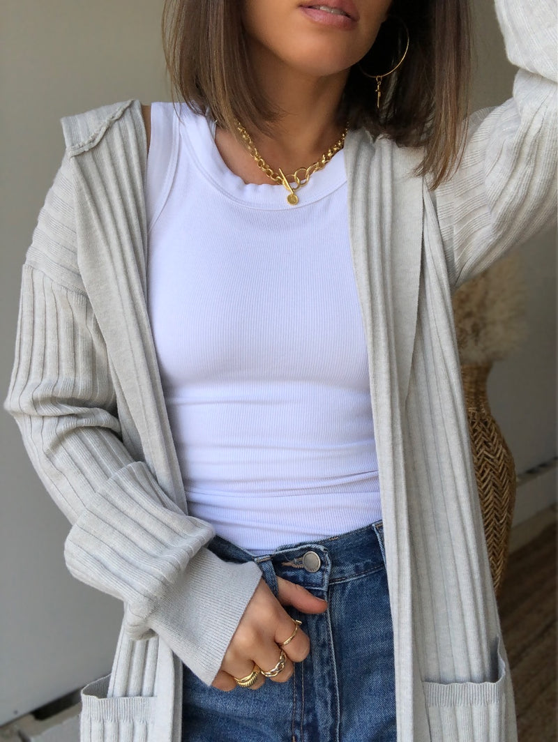 Rejuvenated Rib Knit Hoodie Cardigan | Grey