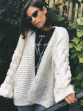 Presley Cream Puff Sleeve Chunky Knit Cardigan Sweater - amannequin - amannequin