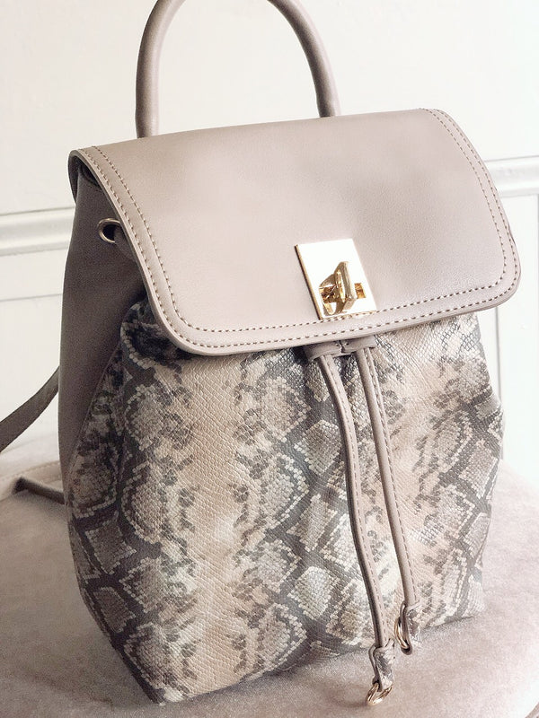 Tegan Taupe Snakeskin Vegan Leather Mini Backpack - Urban Expressions-Handbag-urban expressions-AMQN Boutique