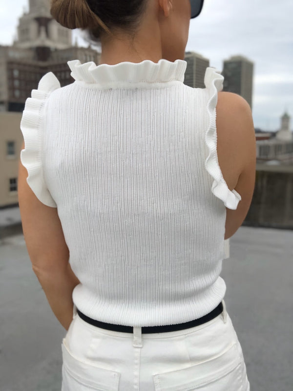 Lanae White Ruffle Stretch Knit Tank Top | Womens | Shirts | amannequin