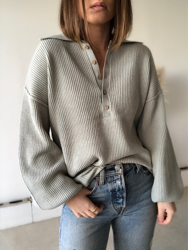 Hamptons Statement Collar Knit Sweater