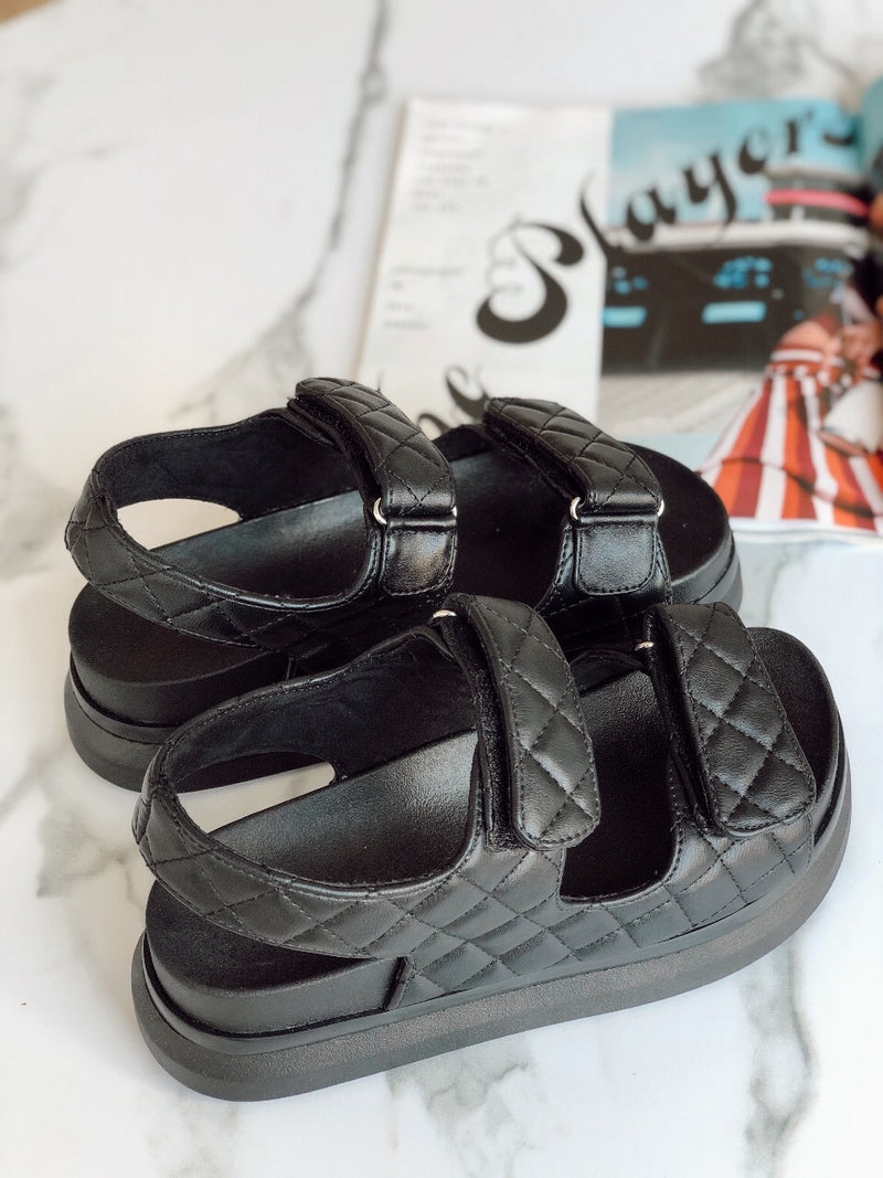 Jagger Quilted Platform Sandals | Black