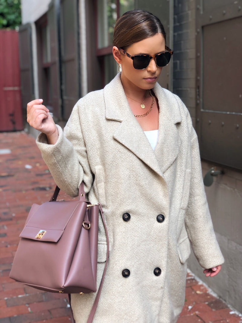 Carra Double Breasted Boucle Coat - Natural - amannequin - amannequin