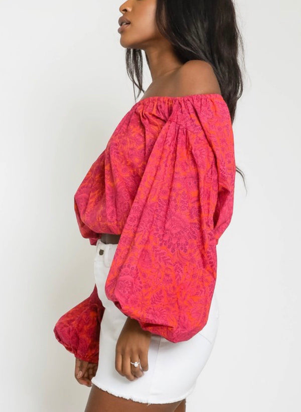Wild Child Pink Paisley Off the Shoulder Top