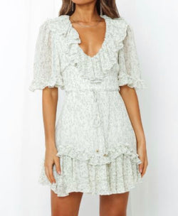 Margaret Floral Ruffle Sleeve Dress - Sage/Ivory