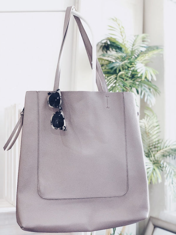 Olympia Vegan Leather Oversized Tote Bag - Gray