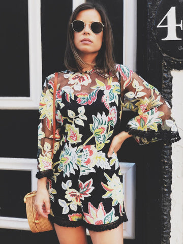 cc7021f8f882 ... Lila Floral Lace Bell Sleeve Romper - amannequin - amannequin