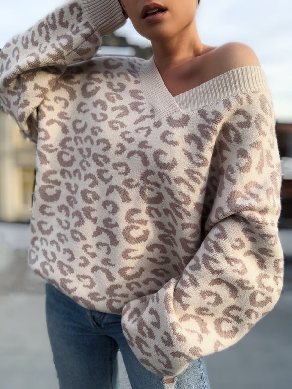 Coco Leopard Print Puff Sleeve Sweater - Cream/Blush - amannequin - amannequin