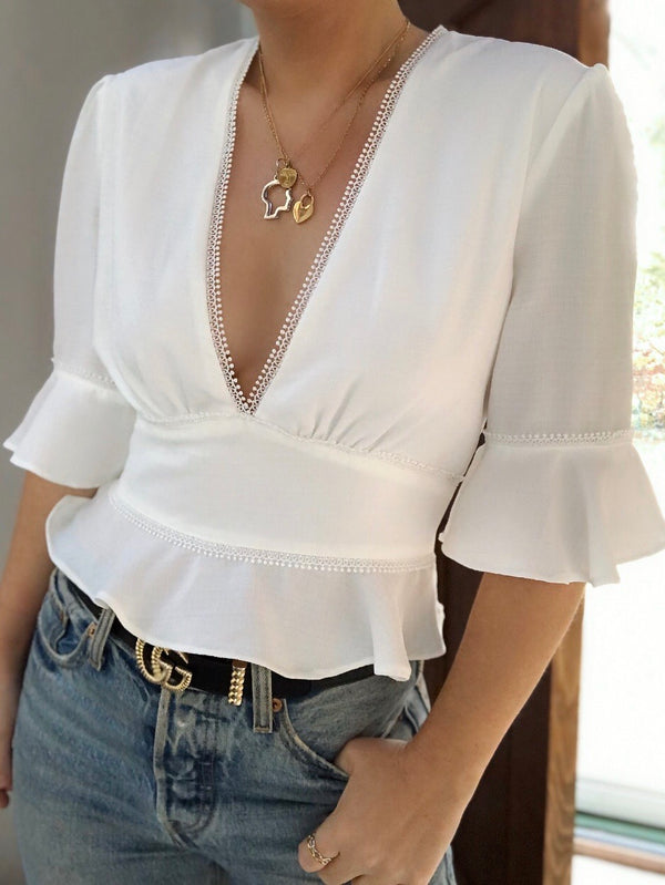 Missie Short Sleeve Ruffle Blouse - White - amannequin - amannequin