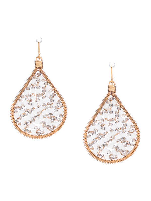 Cleo Beaded Tear Drop Earrings - White Clear - amannequin - amannequin