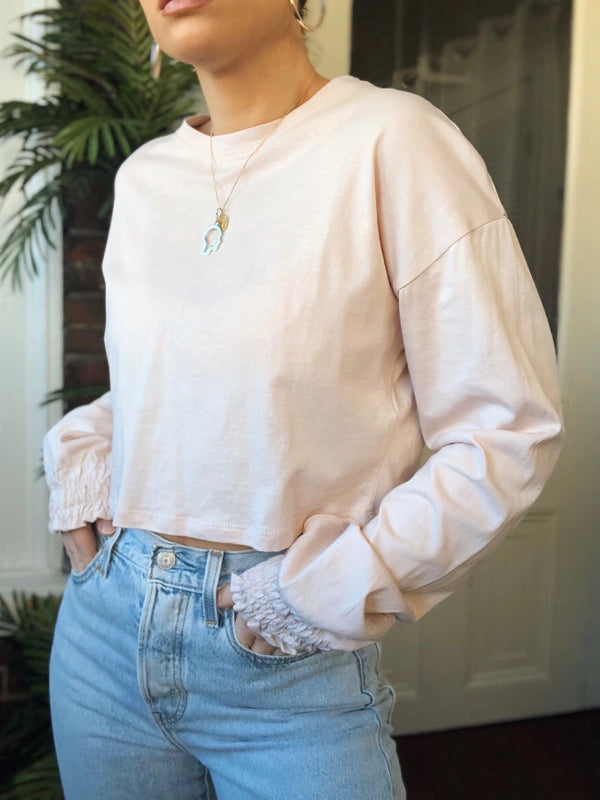 Ana Maria Puff Sleeve Cropped Tee - Pink - amannequin - amannequin