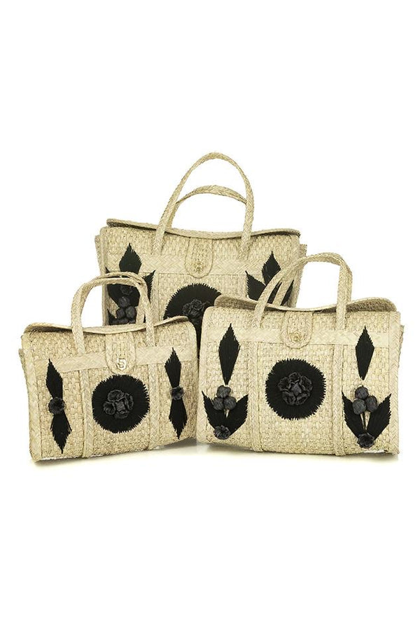 Acapulco Palm Beach Bag Tote - Black